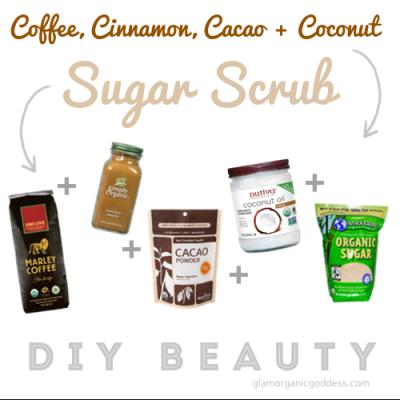 DIY Organic Beauty Coffee, Cinnamon, Cacao + Coconut Sugar Scrub