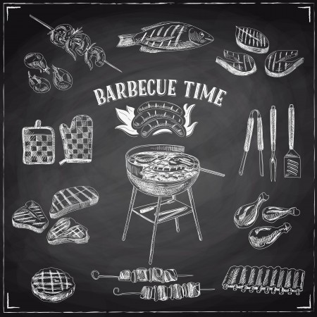 Vector set of barbecue and grill elements.